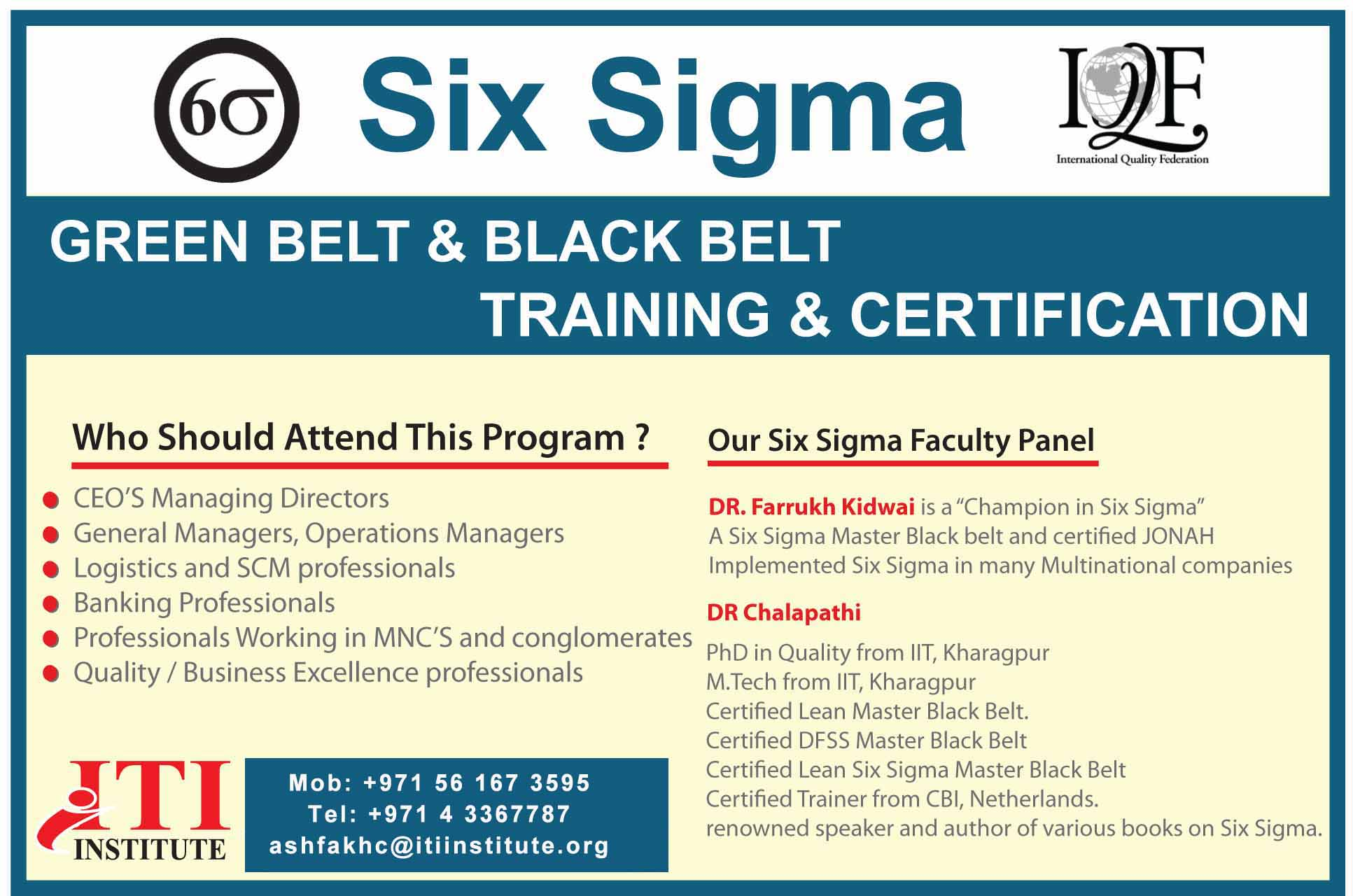Six Sigma Green Belt and Black Belt from IQF - USA